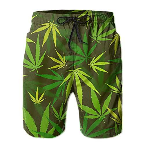 Olverz Pantalones cortos de playa con cordón de secado rápido para hombre, color verde y amarillo, con bolsillos