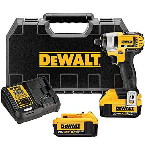 DEWALT 20V MAX Impact Driver Kit, 4.0-Ah, 1/4-Inch (DCF885M2)