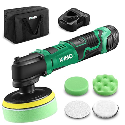 KIMO 12V 4' 3000RPM Cordless Car Buffer Polisher Kit w/ 2.0Ah Battery & Fast Charger, Variable Speed, 4 Polishing Pads for Removing Car Scratch, Polishing Car/Home Appliance/Ceramic/Boat Detailing