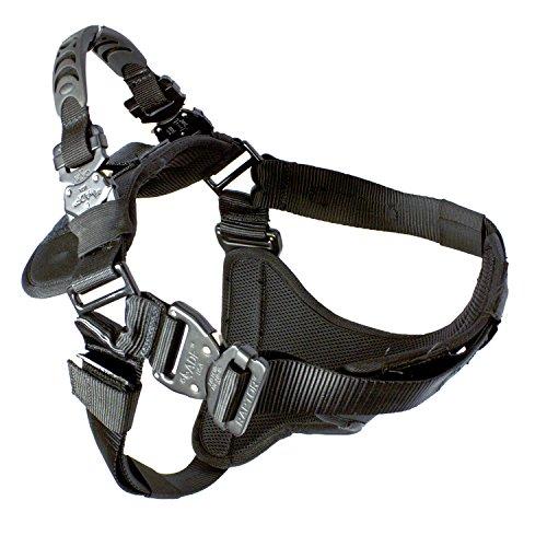 Fusion Pets Trekker Adjustable Military Tactical Police K9 Ergonomic Dog Harness Hunting Guard Canine Large Black