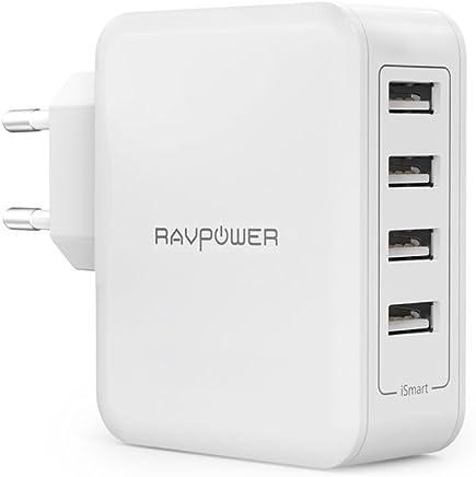 RAVPower USB Ladegerät 4-Port 40W AC Wandladegerät mit iSmart Technologie für iPhone X XS XR XS Max 8 7 6 Plus, iPad Pro Air Mini, Galaxy S9 S8 Plus, LG, Huawei, HTC usw.