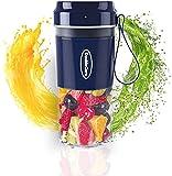 Batidora Portatil, mini licuadoras personales de Taza Exprimidora de Mano para Batidos y Batidos, Batidora Recargable USB de Frutas, Licuadora de Jugo de 4 Cuchillas (Azul)