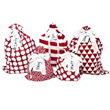 Appleby Lane 100% Cotton Gift Bags (Standard Set, Red), Set of 5 Bags: Three 16'x12' and Two 10'x8'