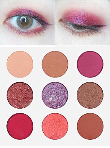 9 couleurs Makeup Shimmer Glitter Poudre ombre à paupières Matt Eyeshadow Brush Set de maquillage,Waterproof,Fards à paupières,Professionnel Cosmétiqu Paillettes Palette (30g, B)