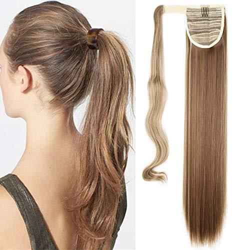 Haarteil Ponytail Extensions Zopf Haarverlängerung Clip in Pferdeschwanz Extensions Synthetische Haare wie Echthaar Glatt 23