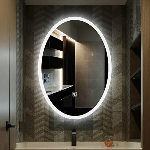 Espejo de baño inteligente, espejo de pared, espejo con luz LED, interruptor táctil/desempañado/pantalla de temperatura de tiempo/Bluetooth Espejo de baño inteligente/Como se muestra/A