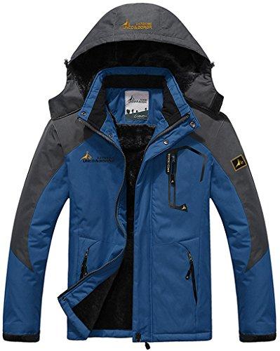 Sawadikaa Anorak Veste de Sport Coupe Vent Imperméable Veste Polaire Veste de Ski Randonnée Manteau Homme Bleu Medium