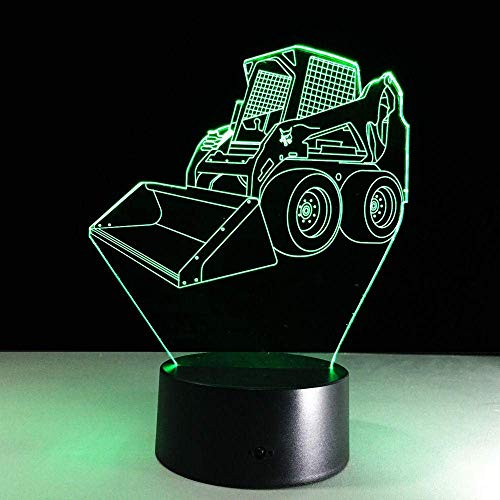 Lámpara De Ilusión 3D Luz De Noche Led Panel Acrílico Bulldozer Excavación Lava Usb 7 Cambio De Color Dormitorio De Niños Mejor Cumpleaños Para Niños
