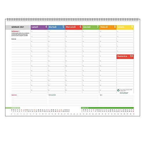 Planning Settimanale da Tavolo 2021 SPIRALATO con tutte le DATE STAMPATE - Planner Agenda Appuntamenti con Note - In Carta ECOLOGICA 100% (42X30)