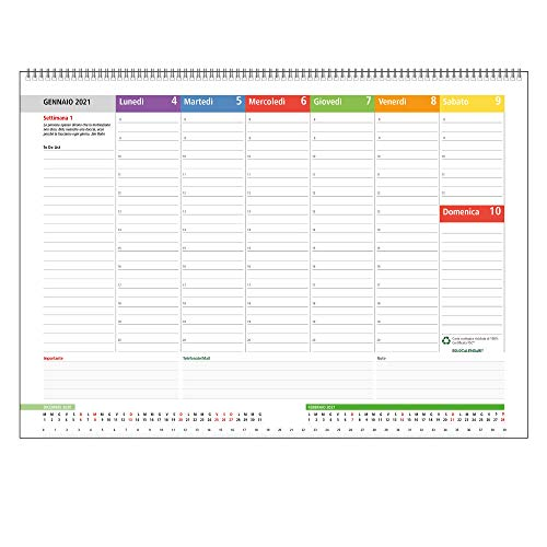 Planning Settimanale da Tavolo 2021 SPIRALATO con tutte le DATE STAMPATE - In Carta ECOLOGICA al 100% (42x30 cm)