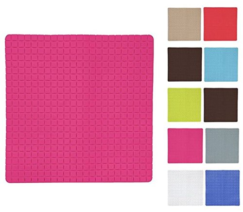 MSV Premium Duschmatte Badematte antibakteriell rutschfest mit Saugnäpfen - Pink/Fuchsia - ca. 54 x 54 cm - duftet nach Rosen - waschbar bei 60° Grad