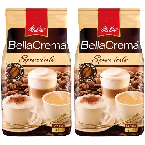 Melitta Kaffee BellaCrema Speciale ganze Bohne, milde Kaffeebohnen, 2er Pack, 2 x 1000g