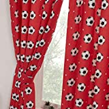 Rapport Football Red Curtains Fully Lined 66x54 with Tie Backs