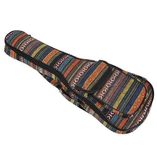 Keenso Ukulele Bag,Ethnic Style 4‑String Guitar,Double Shoulder Strap,Soft Built‑in Thick Padding,Waterproof,With External Pocket