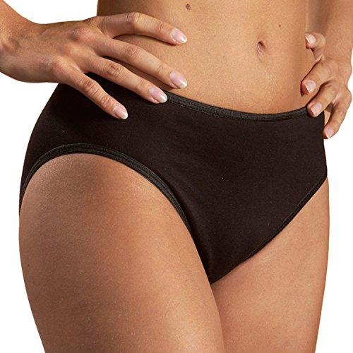 HERMKO 1031 Damen Midi Slip aus 100% Baumwolle, Unterhose ab Fabrik, Farbe:schwarz, Größe:44/46 (L)