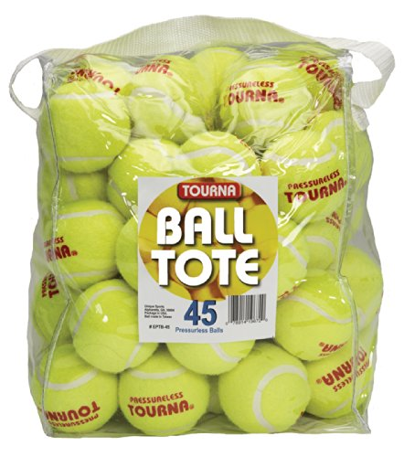 Tourna Pressureless Tennis Balls with Vinyl Tote (45 Count)
