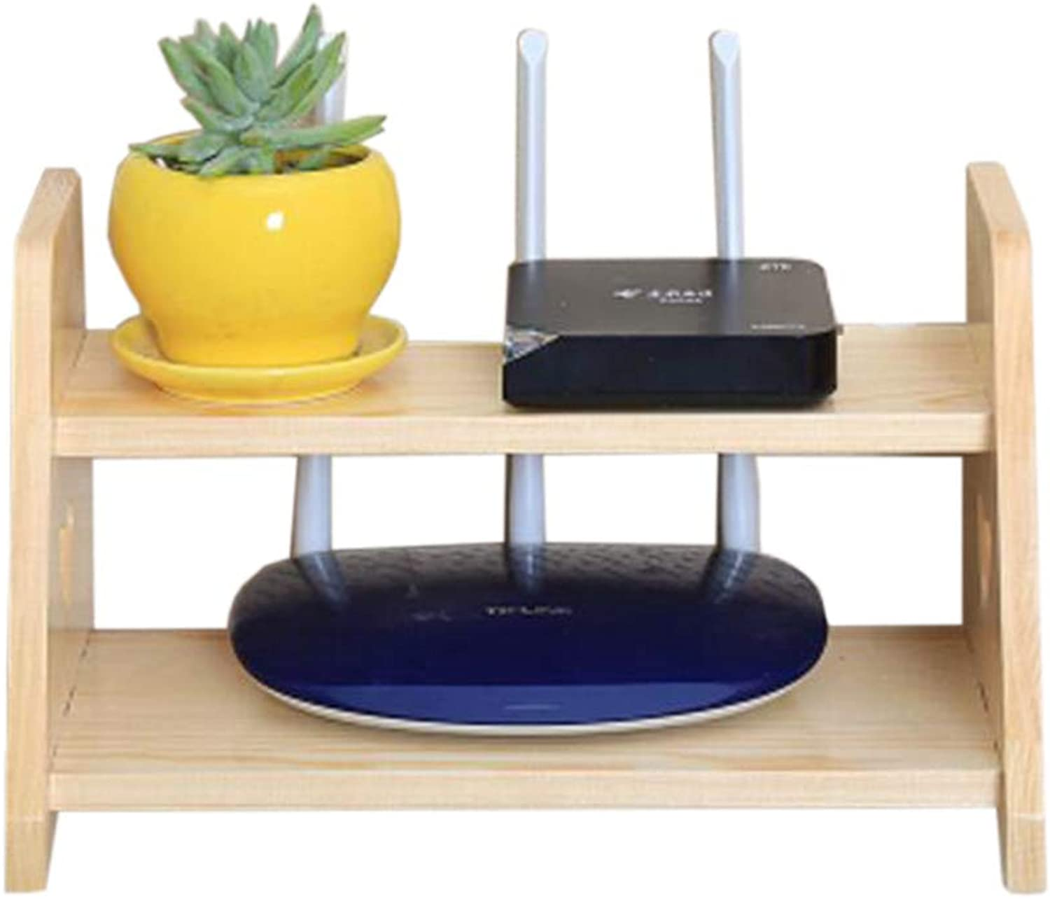Floating Rack WiFi Wall Mount Bracket Solid Wood Multi-Layer Storage Box Versatile, Multiple colors (color   2 Layers of Wood+Paint)