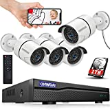 【8CH 5MP DVR】 Wired 8ch Home Security Camera Outdoor System with Hard Drive,DVR Video Surveillance Security Camera System,Surveillance DVR Kits,4pcs 1080p Security Camera Outdoor Wired,APP