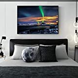 Aurora Boreal sobre las montañas arte mural lienzo moderno aurora boreal noruego lienzo arte pintura sin marco pintura decorativa Z13 50x70cm