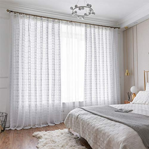 """ABREEZE Cotton Crochet Lace Curtain, French Crochet Window Curtains Rod Pocket Drapes for Living Room Bedroom (White,59"""" Wx86 L)"""
