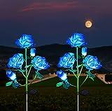 Luces Solares de Flores de Rosas, ZVO 2 Piezas10 LED Solar Exterior de Rosa de Jardín para Exteriores, IP65 Luz Solar Al Aire Libre Iluminación Decorativa para Vallas, Patio, Entrada, Caminos(Azul)