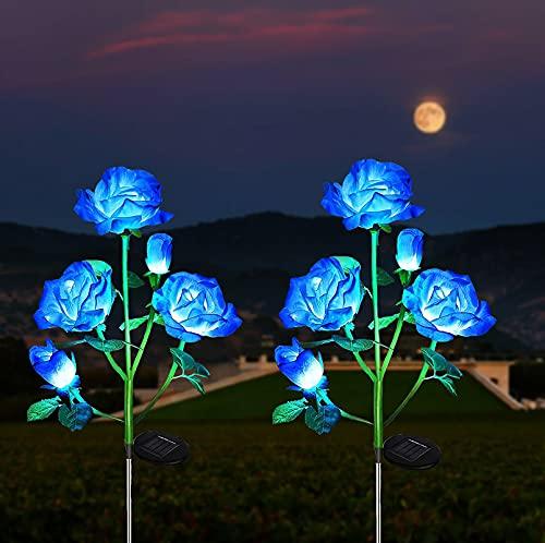 Luces Solares de Flores de Rosas, ZVO 2 Piezas10 LED Luces Solares Exterior Jardín, IP65 Lampara de Jardín de Rosas Al Aire Libre, Iluminación Decorativa para Jardín, Patio, Entrada, Caminos(Azul)