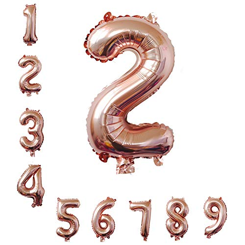 40 Inch Rose Gold Jumbo 2 Number Balloons Huge Giant Balloons Foil Mylar Number Balloons for Birthday Party,Wedding, Bridal Shower Engagement Photo Shoot, Anniversary (Rose Gold,Number 2)
