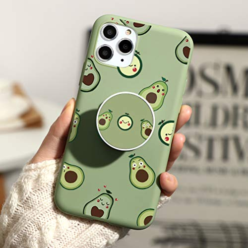 KAPUCTW iPhone 11 Case with Stand Grip Holder Kickstand, iPhone 11 Slim Silicone Shockproof TPU Bumper Back Cover with Cute Animal Marble Flower Cartoon Design for Girls Women,Green Avocado