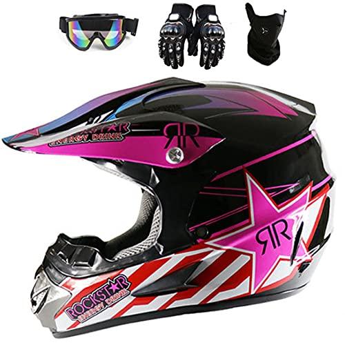 Casco de motocicleta unisex para adultos/jóvenes, para niños, todoterreno, para motocross, para montar en bicicleta, con ventilación de aire ampliada, guantes y máscara facial