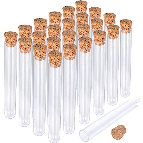BARATTI - Provetta Porta Confetti in Vetro con Tappo in Sughero Altezza 10 cm Diametro 2,5 cm - Confezione da 24 Pezzi -