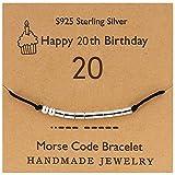 YooAi Bracciale codice Morse Regali di Buon Compleanno per Ragazze Ragazzi Bracciale in Argento Gioielli Regalo di Compleanno per 20 Anni Perline su Cavo di Seta 20 °