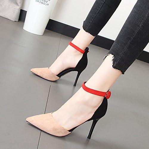 Xue Qiqi Chaussures Chaussures fille unique embout doux élégant couleur sort les chaussures à talons hauts avec le champ lumineux chaussures femmes