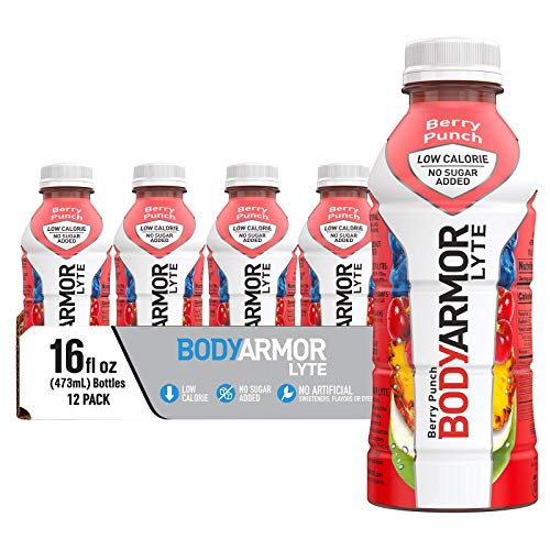 BODYARMOR LYTE Sports Drink Low-Calorie Sports Beverage, Berry Punch, Natural Flavors With Vitamins, Potassium-Packed Electrolytes, No Preservatives, Perfect For Athletes, 16 Fl Oz (Pack of 12)