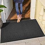 DEXI Large Rubber Doormat Indoor Front Door Mat Entrance Outdoor,Heavy Duty Rubber Outside Floor Rug Waterproof Low-Profile,3'x5',Grey