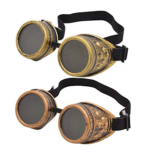 ZLIXING Steampunk Goggles Mad Evil Scientist Goggles Glasses Halloween Party Favors Steampunk Costume Accessories