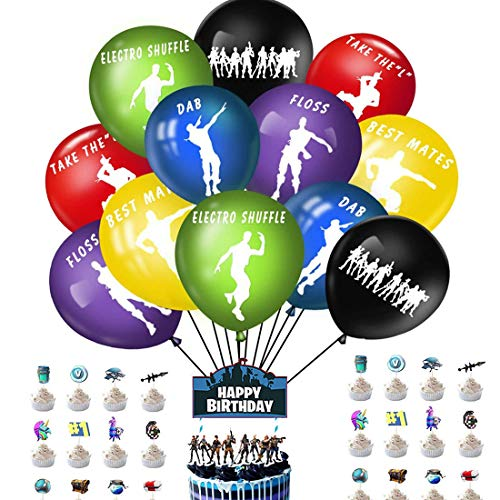 SZWL Video Game Party Supplies Set 39Pcs Game Dance Balloon Cake Topper Combination Children's Birthday Party Decoration