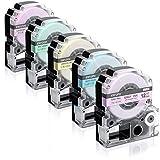 Airmall ガーリー テプラ テープ12mm 互換 キングジムテプラ カートリッジ グレー文字 、 ラベンダー 、ベビーピンク、 ミルキーブルー、 ミントグリー、レモンイエロー 5色セット