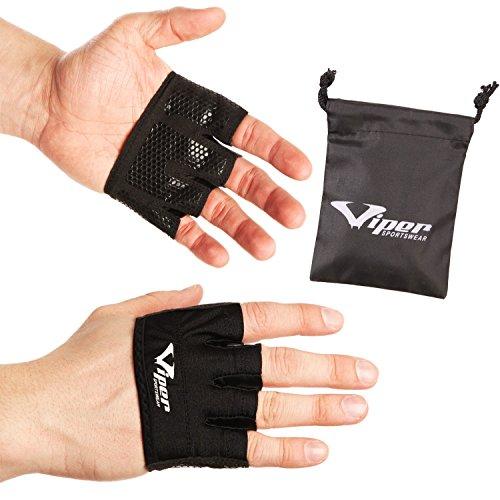 Vipersportswear, guanti da allenamento senza dita, per allenamenti fitness, crossfit, sollevamento pesi e trazioni, proteggono le mani da tagli e calli; per allenamenti più intensi, Black, L