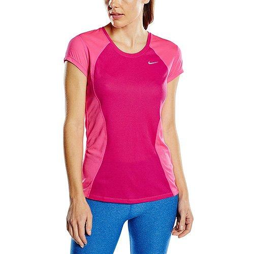 Nike 645443-616_Vivid Pink/Pink Pow/Reflective Silv_XL - Maglietta da Corsa a Maniche Corte Donna, XL, Colore: Rosa Vivid Pink/Pink Pow/Reflective Silv