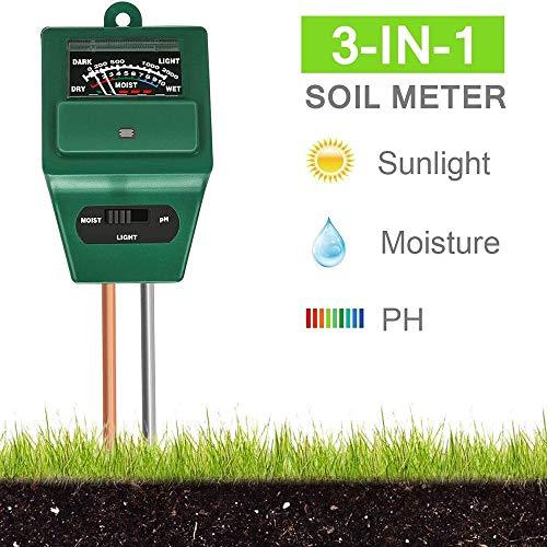 GuoYq Bodentester 3 In 1 Erde Feuchtigkeit Meter Bodentester Ph Wert Boden Temperatur Und Sonnenlicht Intensität Tester Bodentester Boden-feuchtigkeitsmesser