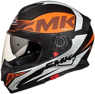 SMK MA271 Twister Logo Graphics Pinlock Fitted Full Face Helmet with Clear Visor (Matt Black, Orange and White, M)