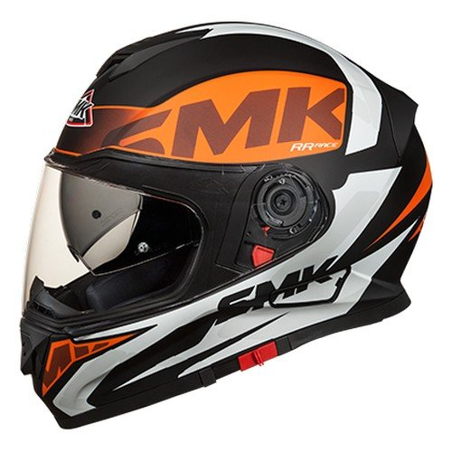 SMK Twister Logo Full Face Helmet With Pinlock Fitted Clear Visor (MA271/Matt Black, Orange and White, XS)