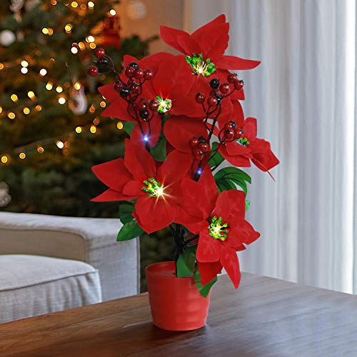 Rocinha Poinsettia Plant, Artificial Christmas Flowers with Light & Pot Xmas Decorations Gift for Home Table Fireplace Window