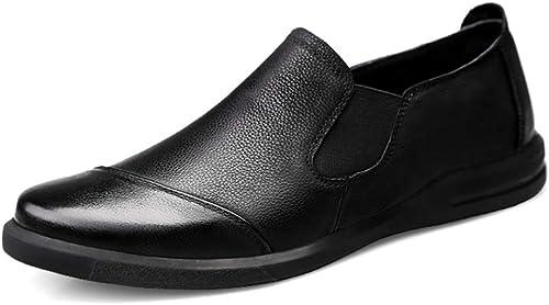 JIALUN-des Chaussures Homme Conduisant Mocassins Décontracté en Cuir Semelle Souple UniCouleure Affaires Bean Chaussures Bateau Mocassins Chaussures pour Homme (Couleur   Matte noir, Taille   38 EU)