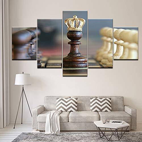 zlxzlx 5 opeenvolgende schilderijen canvas schilderijen frame wooncultuur 5 stuks schaak bordspel poster voor woonkamer Hd prints Engels ontwerp afbeeldingen muurkunst 30 x 40 cm x 2 30 x 60 cm x 2 30 x 80 cm x 1.