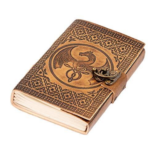 DreamKeeper Tagebuch Leder Taschentagebuch, Kaida Handgefertigtes geprägtes Reise-Notizbuch mit keltischem Drachen Design und Bronzeschloss. A6