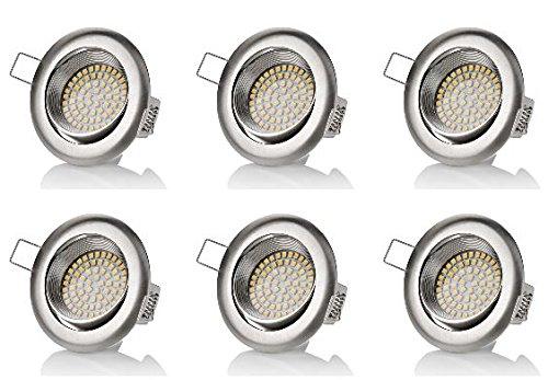 Sweet Led® Lot de 6 spots LED plats encastrables et pivotants 320 lm 3,5 W 230 V Aspect acier inoxydable Rond ou carré au choix, blanc froid, keine 3.5watts 230.00volts