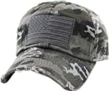KBVT-209 BLK-CAM Tactical Operator with USA Flag Patch US Army Military Baseball Cap (Adjustable, (209) Black Camo)