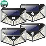 Kilponen Luz Solar Exterior 100 LED [4-Paquete 2200mAh Potente] Foco Solar Exterior Gran Ángulo 270° con Sensor de Movimiento, Luces Solares Impermeable y 3 Modos, Lámpara Solar para Jardín,Garaje