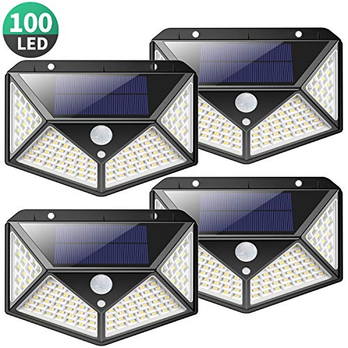 Solarleuchte für Außen,[Superhelle 2200mAh - 4 Stück] kilponen 100 LED Solarlampen Außen mit Bewegungsmelder Sicherheitswandleuchte 270°Solar Beleuchtung Wasserdichte 3 Modi Solarleuchten Garten
